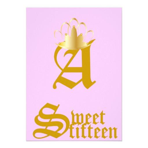 Quince-Personalizar coronado del dulce del monogra Invitación Personalizada
