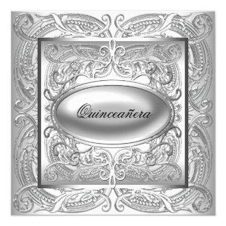 Quinceanera blanco elegante invitación 13,3 cm x 13,3cm