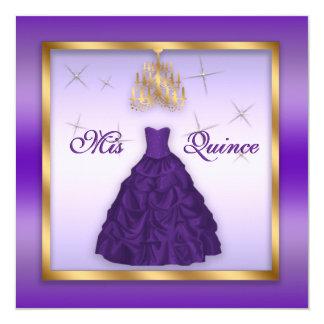 Quinceanera chispeante invita al oro púrpura de la invitación 13,3 cm x 13,3cm