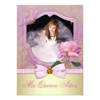 Quinceanera color de rosa rosado invitación 13,9 x 19,0 cm