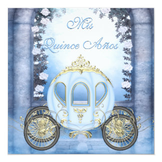 Quinceanera de princesa Carriage Enchanted azul Invitación 13,3 Cm X 13,3cm