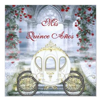 Quinceanera de princesa Carriage Enchanted blanco Invitación 13,3 Cm X 13,3cm