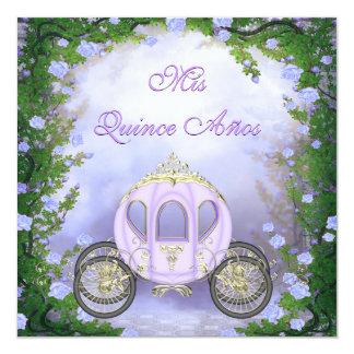 Quinceanera de princesa Carriage Enchanted púrpura Invitación 13,3 Cm X 13,3cm