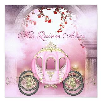 Quinceanera de princesa Carriage Enchanted rosado Invitación 13,3 Cm X 13,3cm