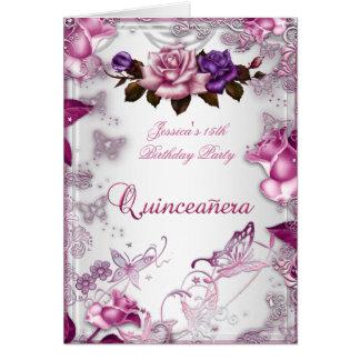 Quinceanera décimo quinto invita a color de rosa p tarjeta pequeña