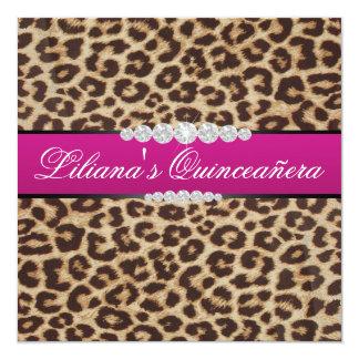 Quinceanera del leopardo de las rosas fuertes invitación 13,3 cm x 13,3cm