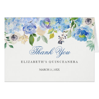 Quinceanera floral azul elegante le agradece tarjeta