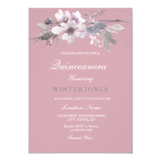Quinceanera floral elegante rosado polvoriento invitación 12,7 x 17,8 cm
