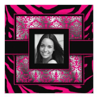 Quinceanera invita a la foto del negro del rosa invitaciones personales