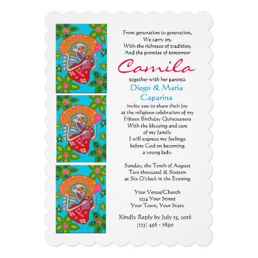 Quinceanera invita cumpleaños de la serenata del comunicados personalizados