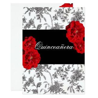 Quinceanera, invitación de los rosas rojos/dulce