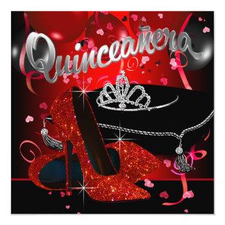 Quinceanera rojo y negro de la tiara del diamante comunicados personalizados