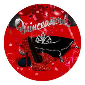 Quinceanera rojo y negro de la tiara del diamante comunicados