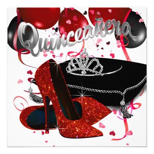 Quinceanera rojo y negro de la tiara del diamante anuncio