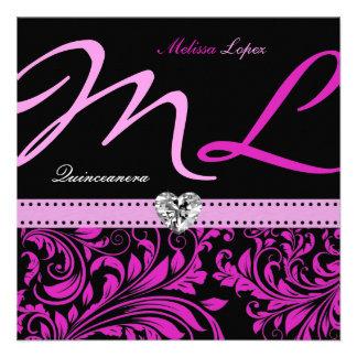Quinceanera rosado y negro elegante comunicado personalizado
