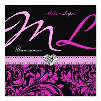 Quinceanera rosado y negro elegante invitación 13,3 cm x 13,3cm