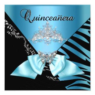 Quinceanera tiara del negro azul de la cebra de 15 invitación 13,3 cm x 13,3cm