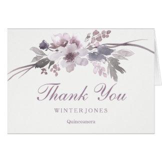 QuinceaneraThank floral púrpura elegante usted Tarjeta