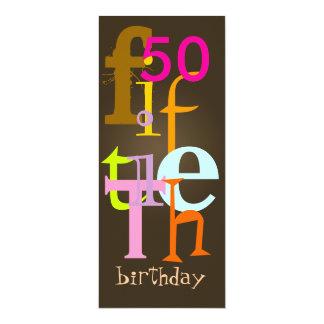 Quincuagésimas invitaciones de la fiesta de invitación 10,1 x 23,5 cm