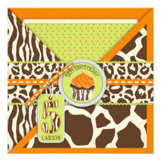 Quinto cumpleaños del safari de la magdalena anara invitaciones personalizada