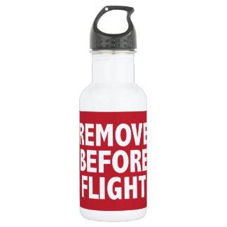 Quite antes de vuelo botella de agua