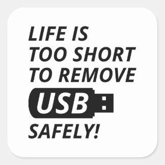 Quite USB con seguridad Pegatina Cuadrada
