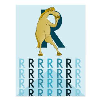 R de la letra de la luz de la tarjeta del empavesa tarjetas postales