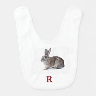 R está para el conejo baberos de bebé