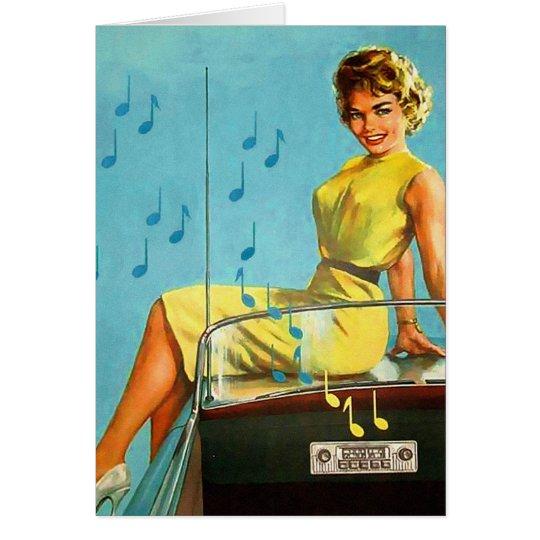 Radio retra del rock-and-roll del kitsch 50s del tarjeta de felicitación