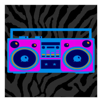 Radio retra del tigre 80s Boombox de Corey Poster