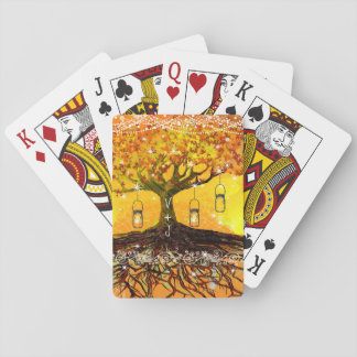 Raíces del boda rústico romántico del árbol del barajas de cartas
