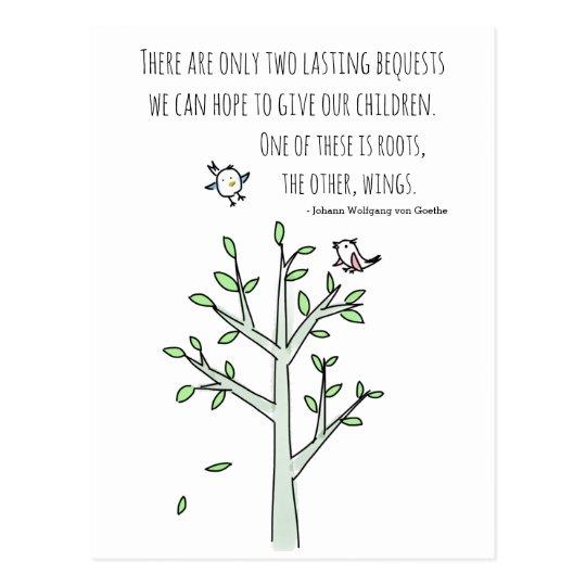 Raíces y alas que inspiran cita del Parenting Postal