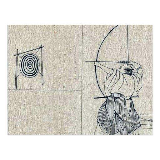 Raikō y la araña de la tierra por Utagawa, Kuninag Postal
