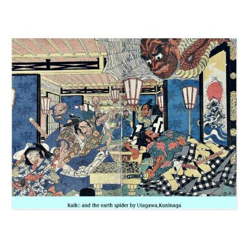 Raikō y la araña de la tierra por Utagawa, Kuninag Tarjeta Postal