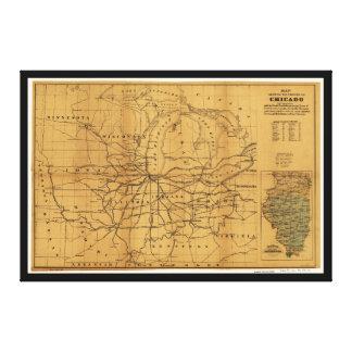 Railroad el mapa Chicago y Cercano oeste de Impresión En Lienzo
