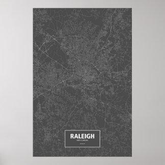 Raleigh, Carolina del Norte (blanca en negro) Póster