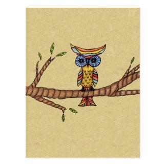 Rama colorida de lujo del búho tarjeta postal