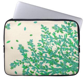 Rama de árbol floral verde funda para portátil