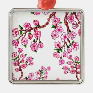 Rama de Sakura que pinta 2 Adorno Navideño Cuadrado De Metal