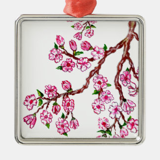 Rama de Sakura que pinta 4 Adorno Navideño Cuadrado De Metal