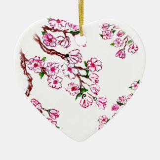 Rama de Sakura que pinta 6 Adorno Navideño De Cerámica En Forma De Corazón