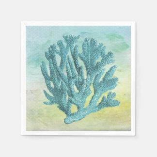 Rama del coral de la turquesa servilletas desechables