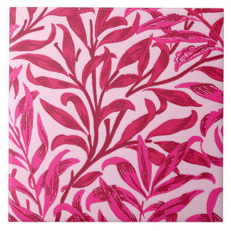 rama del sauce de william morris rosa del fucsia azulejo cuadrado grande - Azulejos Rosa