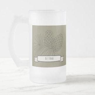 Rama dos del pino taza de cristal esmerilado
