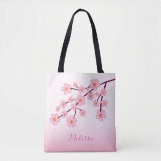Rama floral de Sakura de la flor de cerezo rosada Bolsa De Tela