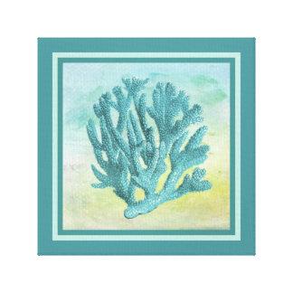 Rama oscura del coral de la turquesa lienzo