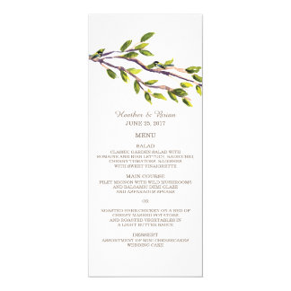 Ramas cepilladas que casan el menú invitación 10,1 x 23,5 cm