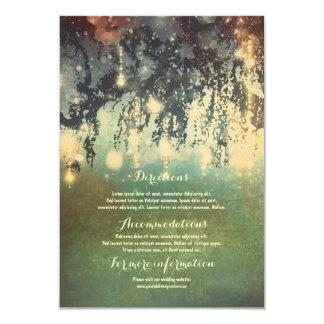 Ramas de árbol de las luces que casan el parte invitación 8,9 x 12,7 cm