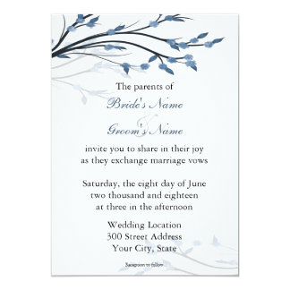 Ramas de árbol florales azules que casan invitación 12,7 x 17,8 cm