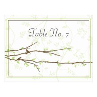 Ramas de florecimiento con la tarjeta del asiento